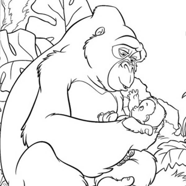 Kerchak The King Kong Taking Care Of Little Tarzan Coloring Pages Bulk Color In 2020 Animal Coloring Pages Disney Coloring Pages Baby Coloring Pages