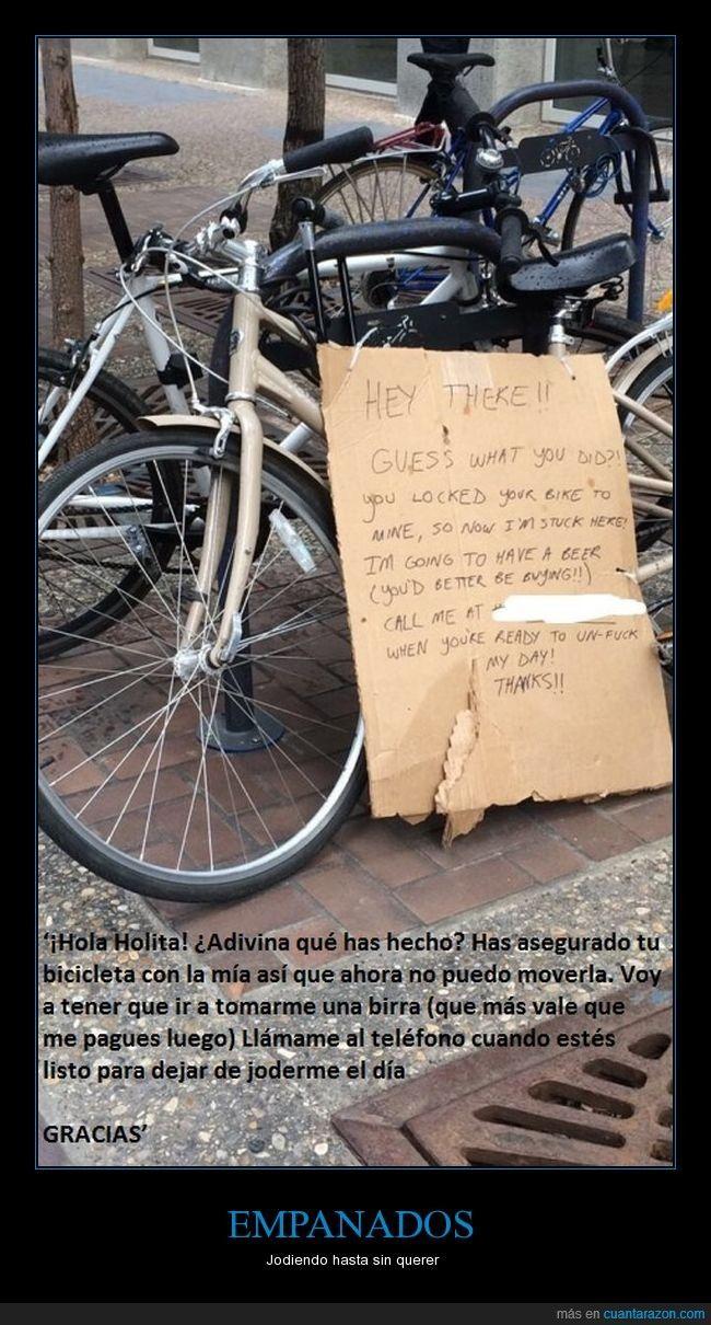 Cuando por equivocación atas tu bici junto a la de alguien que no conoces  - Jodiendo hasta sin querer   Gracias a http://www.cuantarazon.com/   Si quieres leer la noticia completa visita: http://www.estoy-aburrido.com/cuando-por-equivocacion-atas-tu-bici-junto-a-la-de-alguien-que-no-conoces-jodiendo-hasta-sin-querer/