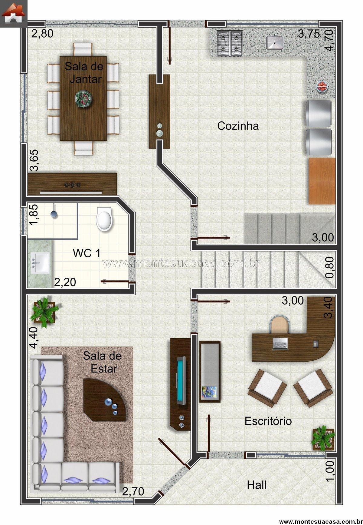 Sobrado 2 quartos 147m house pinterest casas for Casa minimalista 60m2