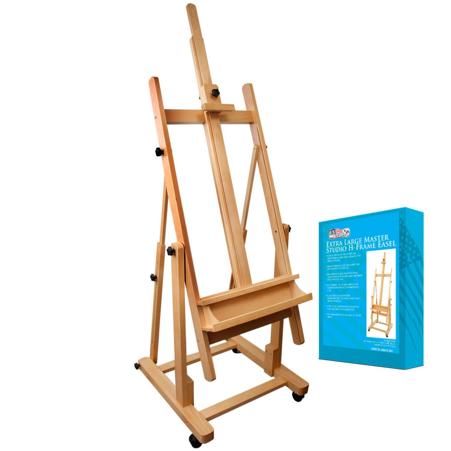US Art Supply Wood H-Frame Deluxe Adjustable Wood Studio Easel w ...