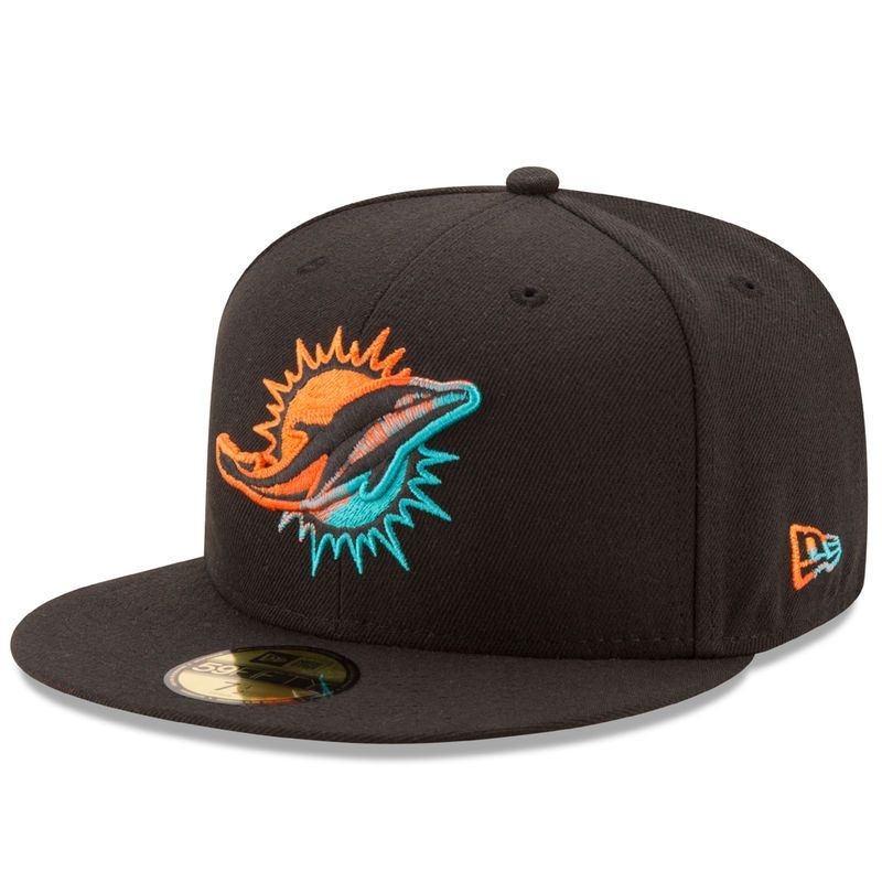 separation shoes 5866e 3d8f8 Miami Dolphins New Era Color Dim 59FIFTY Fitted Hat - Black ...
