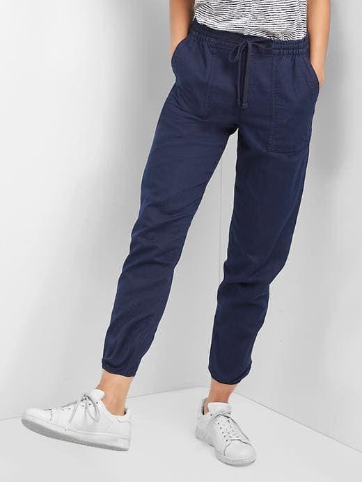 Gap Womens Cotton Linen Utility Joggers Navy Size M Linen Joggers Pants For Women Jogging Pants Women
