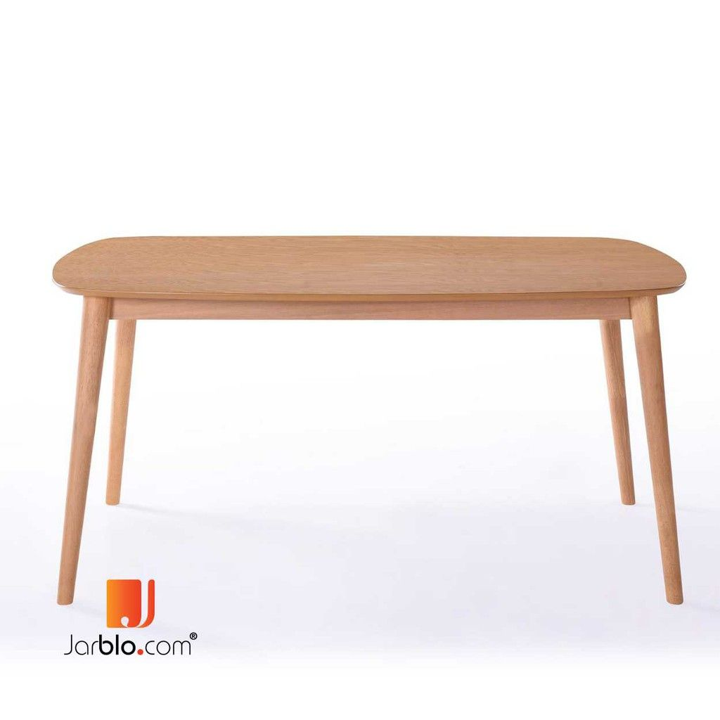 Rounded Leg Wooden Dining Table 150 Cm 6 Person Table Beech Shopee Malaysia Wooden Dining Tables Dining Table Table