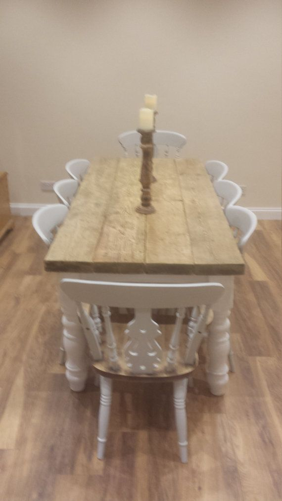 eb61c00be Rustic 8 seater Farmhouse dining table with reclaimed top and ...