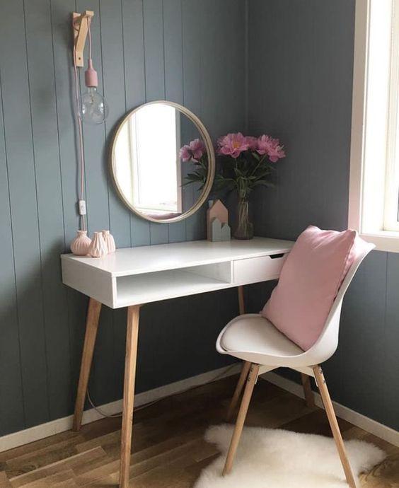 Dressing Table Makeup Home Decoration Small Room Mirror Stool Bedroom Cloakroom Bathroom Diy Home De Dressing Table Design Home Decor Room Inspiration