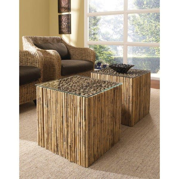Padma's Plantation Bamboo Stick Bunching Table Bas
