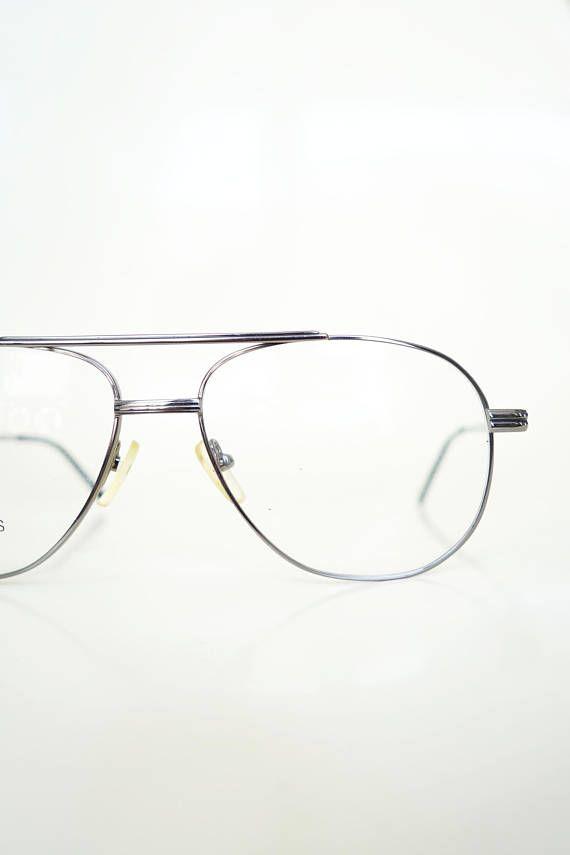 8e79e847065 Vintage Gunmetal Aviator 1980s Glasses Guys Sunglasses Sunnies 80s Eighties  Metallic Silver Mens Retro Authentic Deadstock NOS Brand New