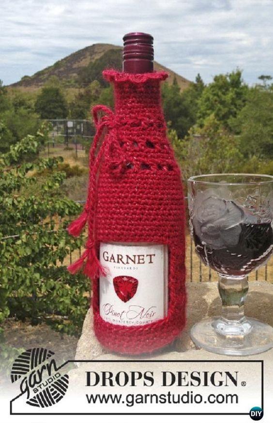 Crochet Wine Bottle Cozy Bag Sack Free Patterns Free Pattern