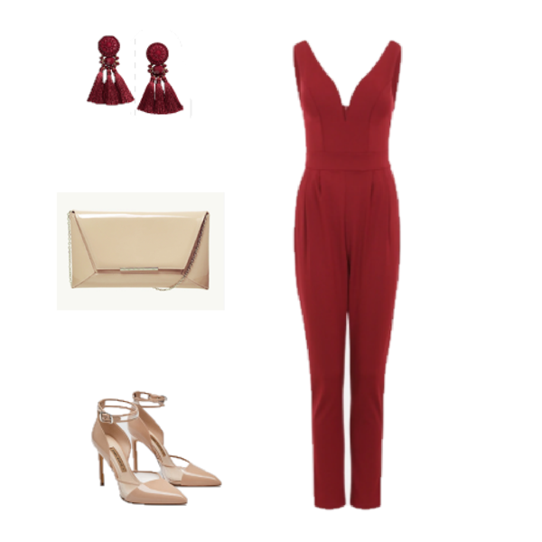 f3dc9f500cf Burgundy jumpsuit+camel ankle strap heels+camel clutch+burgundy tassel  earrings. Summer Dressy Casual  Evening  Event  Party  Celebration  Going  Out  Date ...