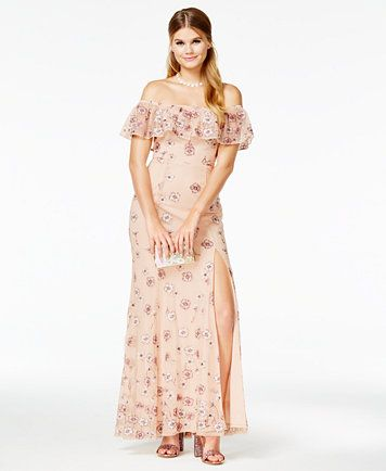 Speechless Juniors\' Off-The-Shoulder Embroidered Gown, A Macy\'s ...