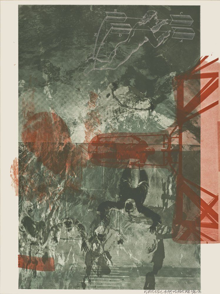 """Robert Rauschenberg, """"Bait (Stoned Moon)"""", 1970. Mind-boggling in scale, visual variety, and artistic ambition, Rauschenberg's Stoned Moon portfolio resonates with the sensory overload of the Apollo launch experience. The individual prints in the series are filled with scenes of astronauts, space suits, complex machinery, and various regional ephemera (tourist maps, orange crate labels, etc.), emphasizing the interconnectedness of nature, mankind, and the astonishing scientific and…"""