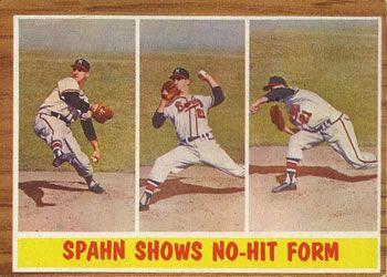 1962 Topps #312 Spahn Shows No-Hit Form (Warren Spahn) Front