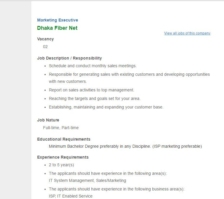 Sales Marketing Executive Job Description Sample 7 Examples In