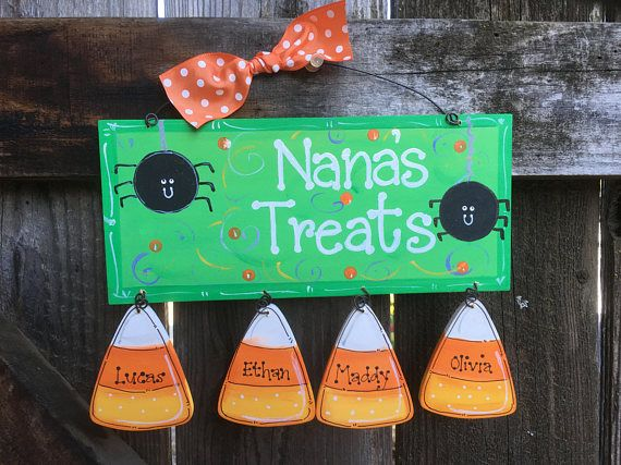 CANDY CORN Personalized sign Halloween Gift Decor Wooden Hand