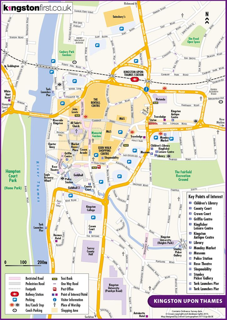 Map Of Kingston Upon Thames Mapping using an OS base for Kingston upon Thames | Town Centre
