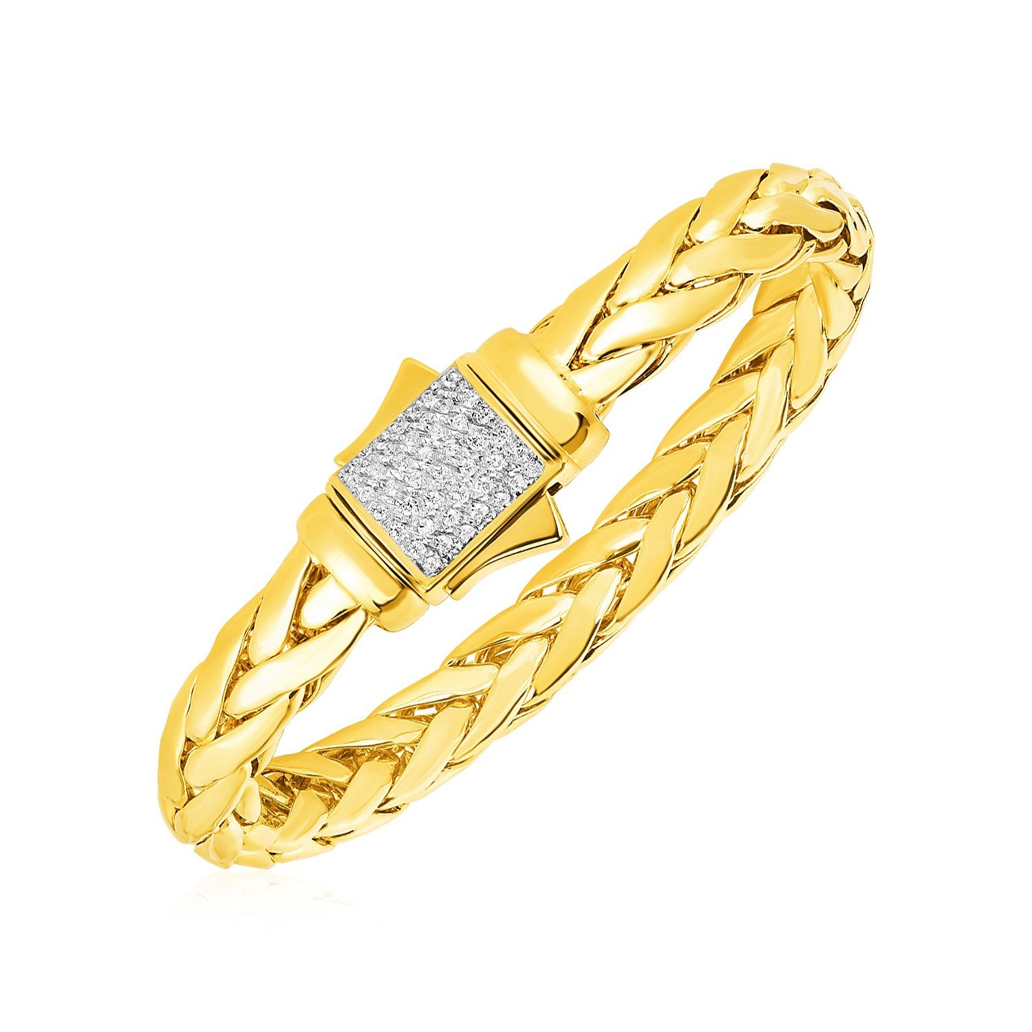 Woven rope bracelet with diamond accented clasp in k yellow gold