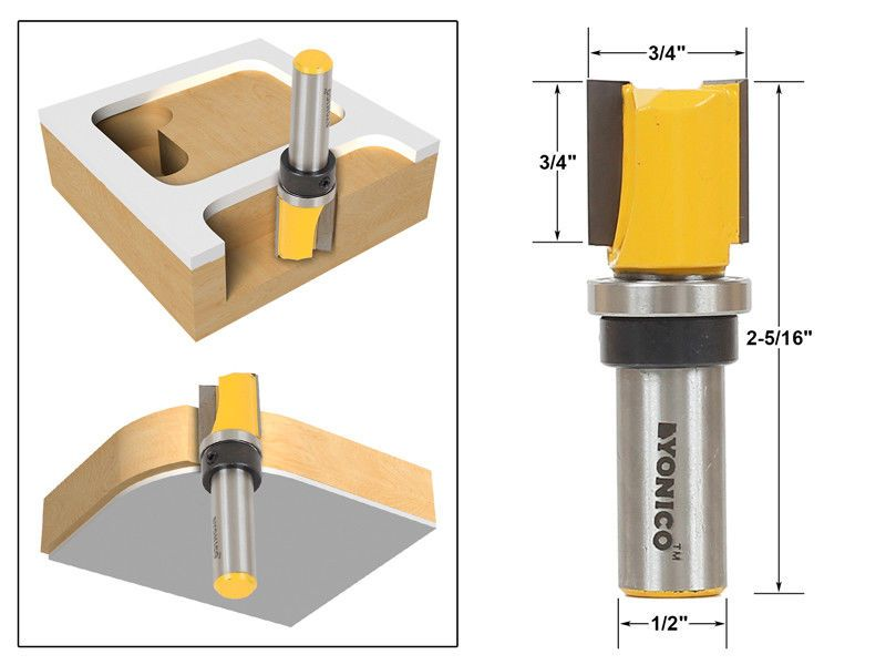 3 4 Diameter Flush Trim Template Router Bit 1 2 Shank Yonico