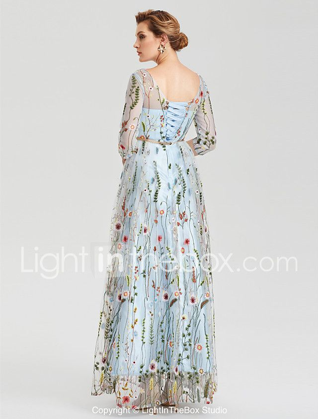 A Line Empire Blue Party Wear Wedding Guest Dress Illusion Neck 3 4 Length Sleeve Floor Length Lace With Embroidery Appliques 2020 Illusion Sleeve 2020 Us Dresses Illusion Dress Lace Formal Dress