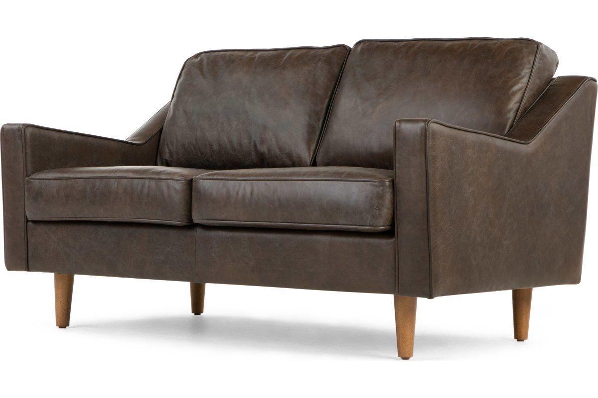 Dallas 2 Sitzer Sofa Premium Leder In Dunkelbraun Made Com Sofa 2 Seater Sofa Leather Sofa