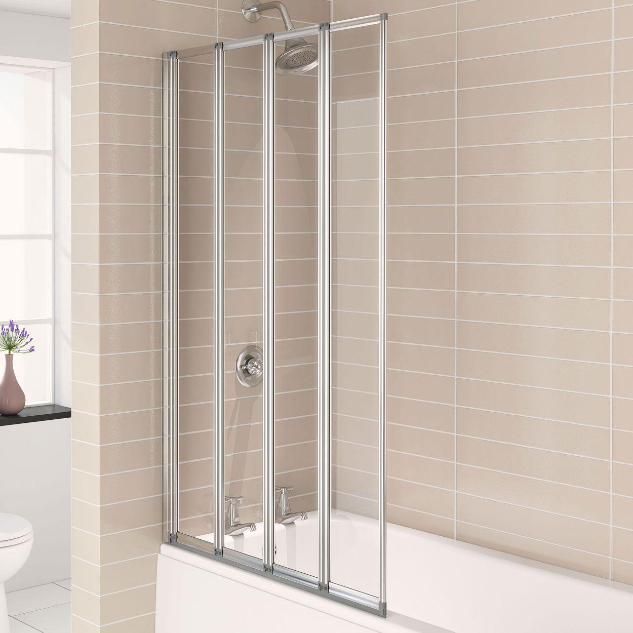 Aqualux Aqua 4 Folding Bath Screen 1160126 4mm Clear Silver Bath Screens Bath Shower Screens Bath