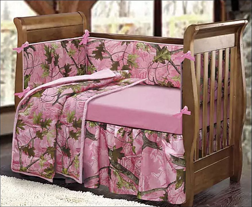 Woodsy Crib Bedding Pink Camo Girl, Woodsy Crib Bedding