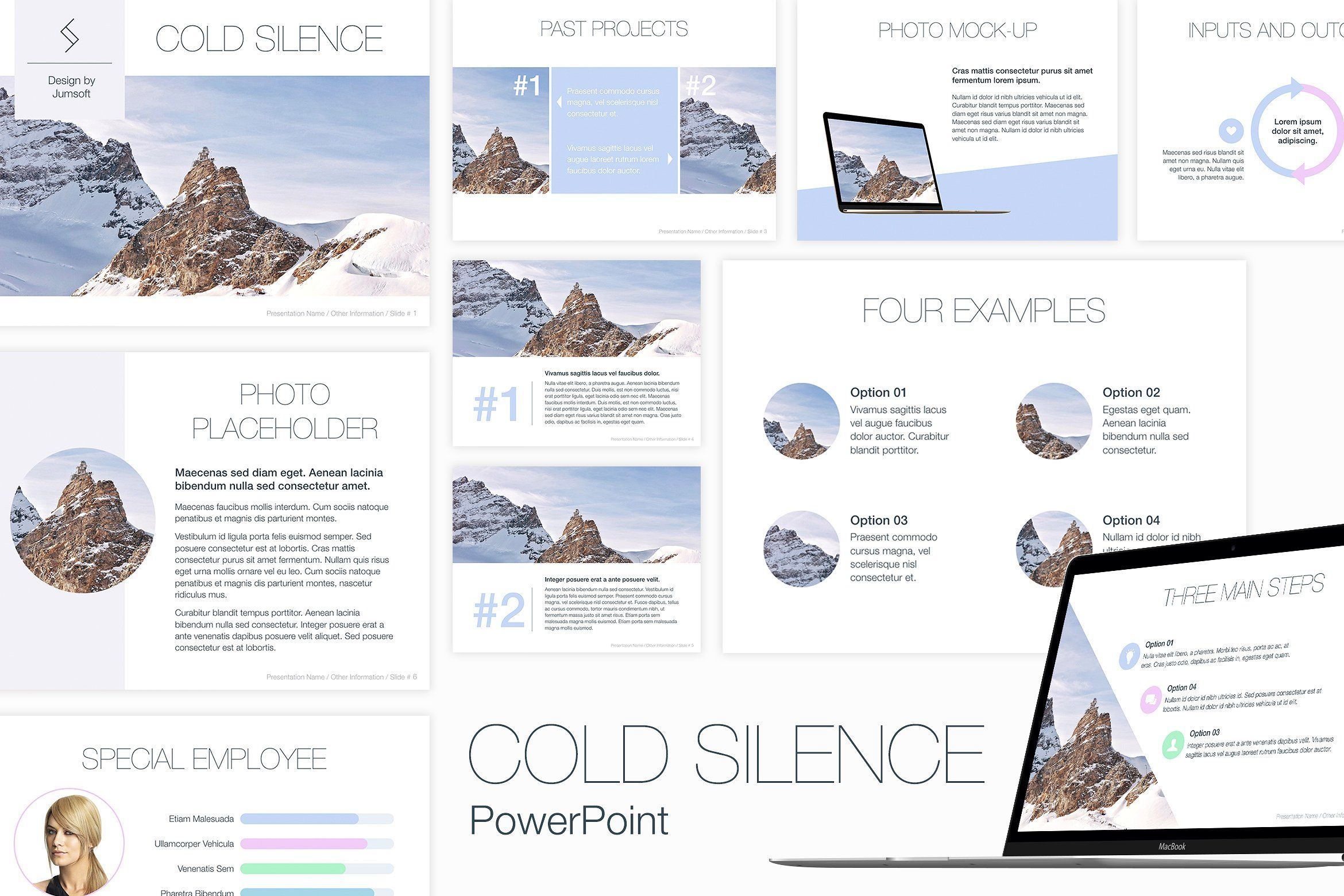 Cold Silence Powerpoint Template Fonts Backgrounds Matching