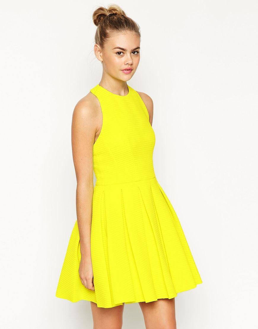 06112ea6a57 Image 1 of ASOS Self Stripe Panelled Full Skirt Halter Dress