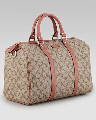 3c50129b31d051 Gucci Joy GG Supreme Stars Canvas Boston Bag, Beige/Rose - Neiman Marcus  820.00