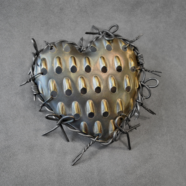 "A Valentine For Lee Bontecou 2010 Brooch: 4 x 4.5"" Antiqued brass"