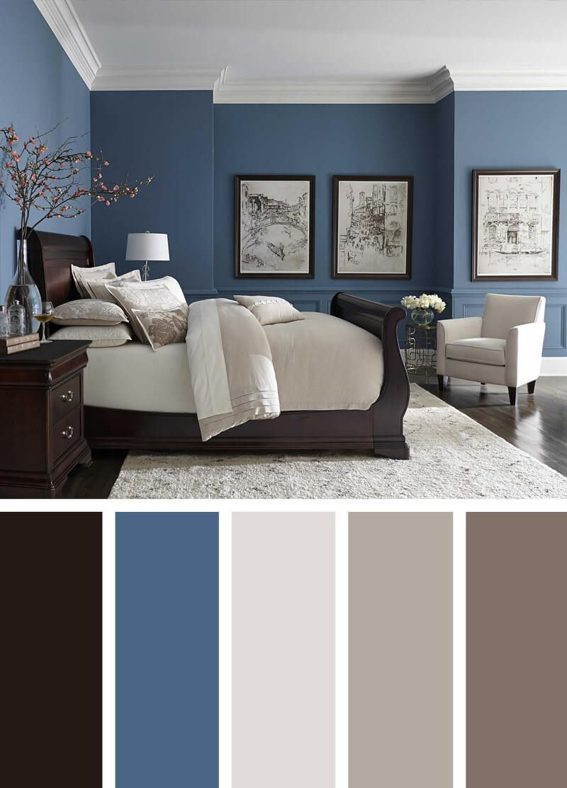 Blue Walls Dark Floors Bright Neutrals Beautiful Bedroom Colors Best Bedroom Colors Master Bedroom Colors