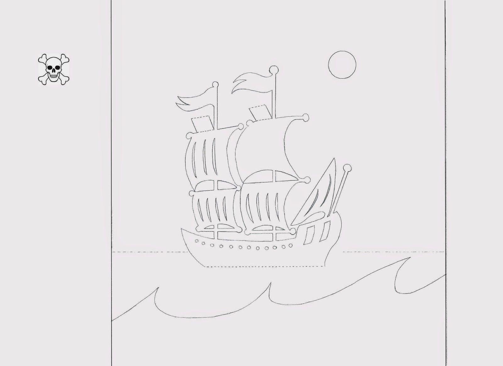 трафарет корабль на море на открытку эту