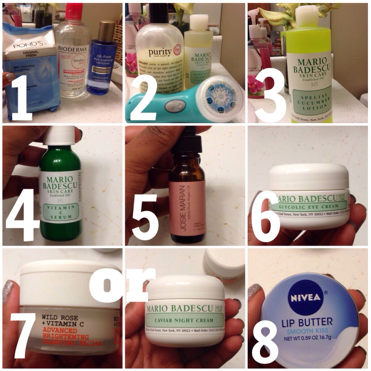 Night time skin care routine 1.Makeup removers> 2.Cleanser> 3.Toner> 4.Serum> 5.Oil> 6.Eye cream> 7.Night cream (I use 2 depending on what my skin needs at the time)> 8.Lip balm