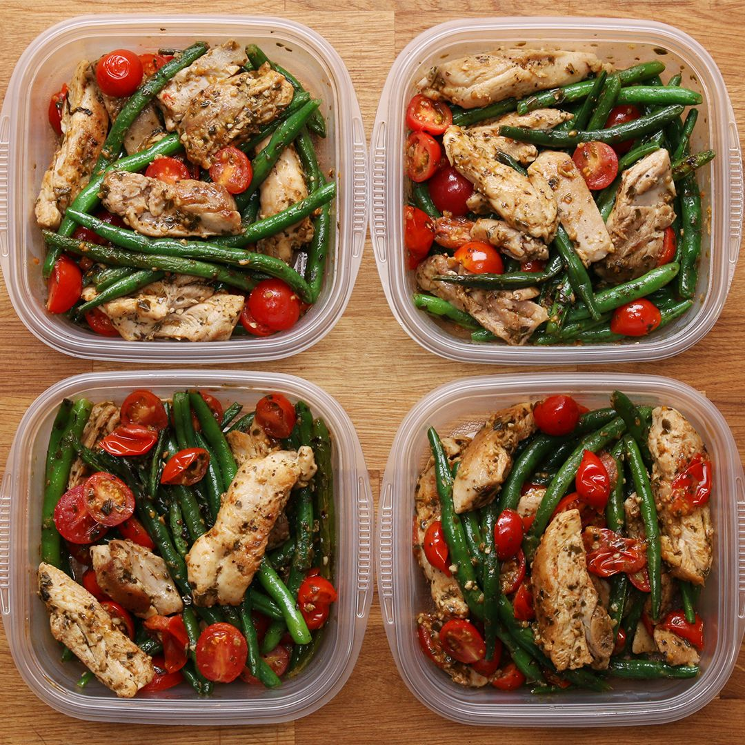 Weekday Meal Prep Pesto Chicken Veggies