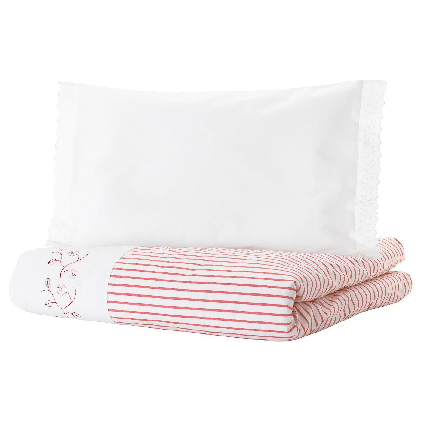 Gulsparv Crib Duvet Cover Pillowcase Stripe Red 43x49 14x22