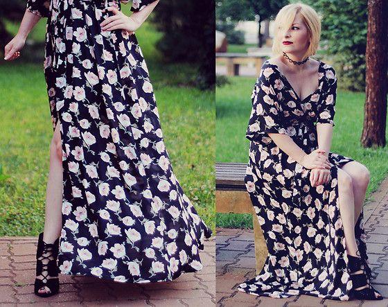 Anca V. - Zaful Floral Maxi Dress, Zara Heels, Zaful Choker - Maxi Dress