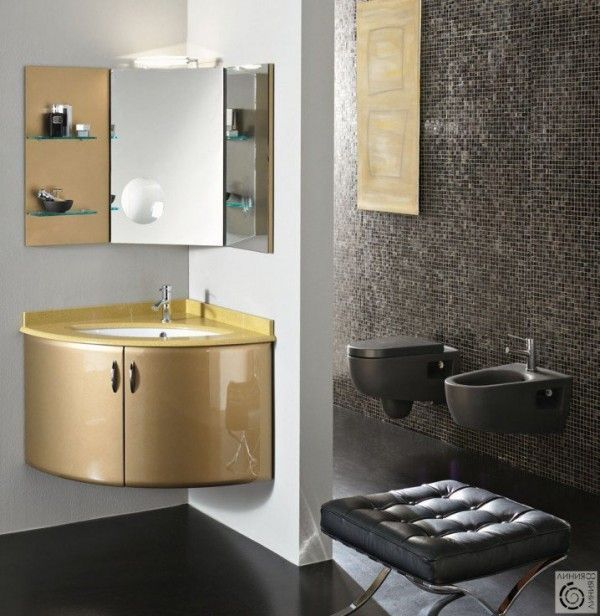 حمامات عصرية باكسسوارات عملية و راقية Corner Bathroom Vanity Bathroom Cabinets With Lights Small Bathroom Decor