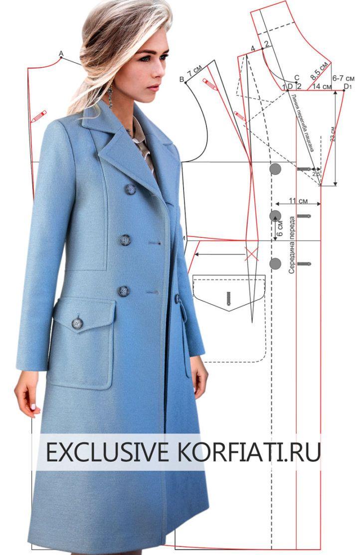 Выкройка демисезонного пальто от Анастасии Корфиати #schnittmusterzumkleidernähen