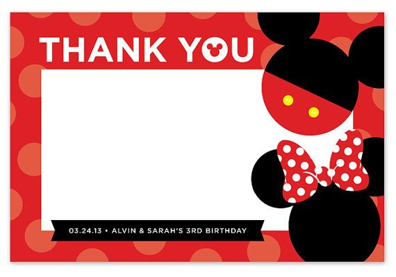 Disney Mickey Mouse Minnie Mouse Thank You Card Stationery Thankyoucard Birthday Boy Girl Disney M Disney Scrapbook Mickey Mouse Birthday Party Minnie