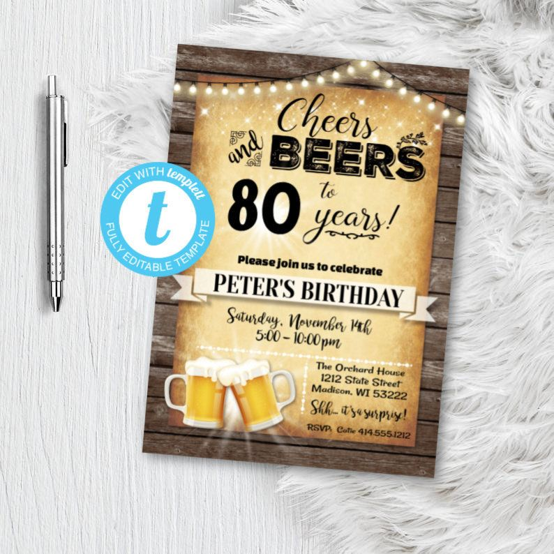 Mens 80th Cheers and Beers Invitation Birthday Party