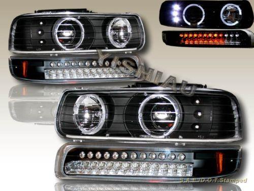 99 02 Silverado Black 1500 Twin Halo Headlights And Led Bumper Lights Ebay Silverado Parts Chevy Silverado Good Used Cars
