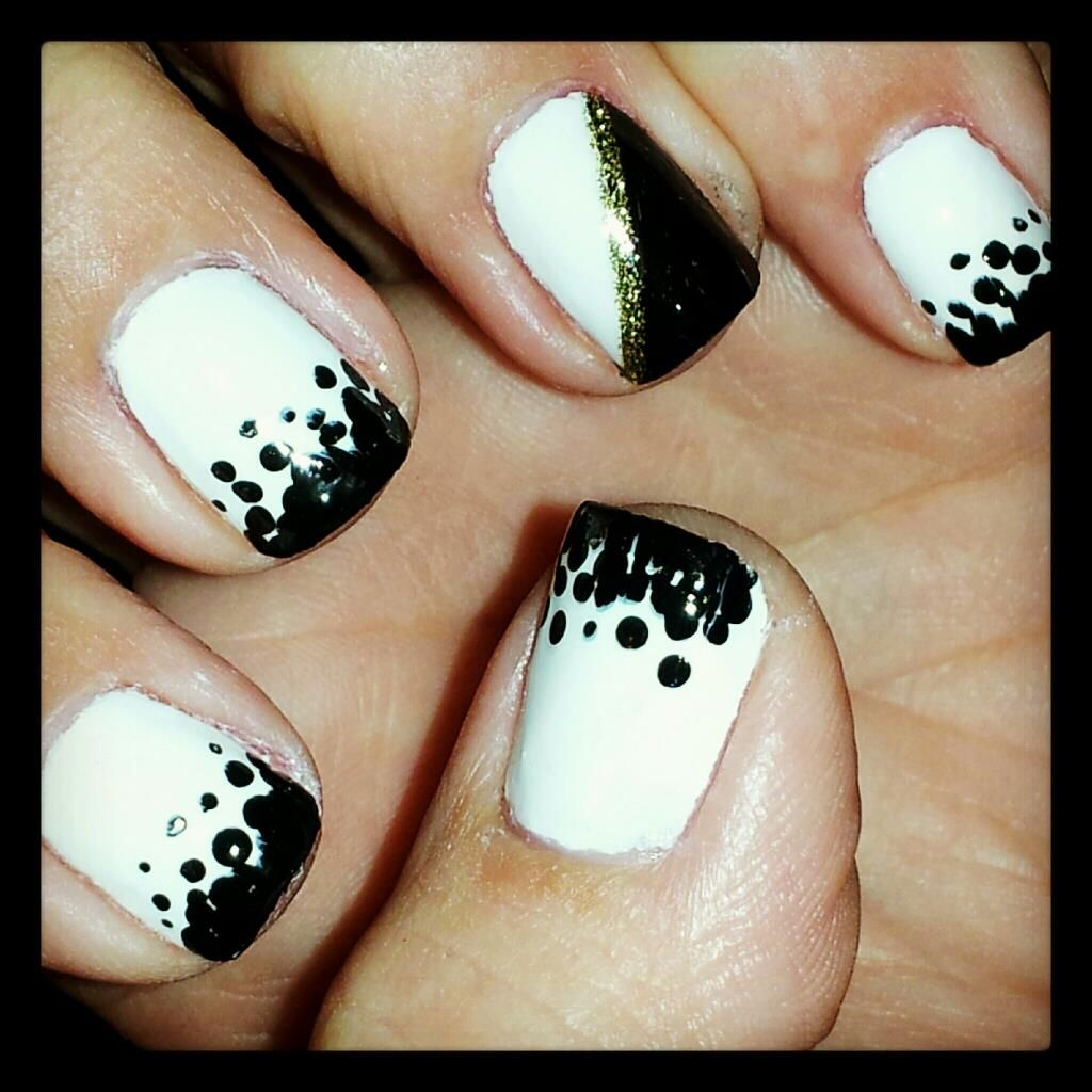 Black and white nails polk dot nails opi gelcolor in