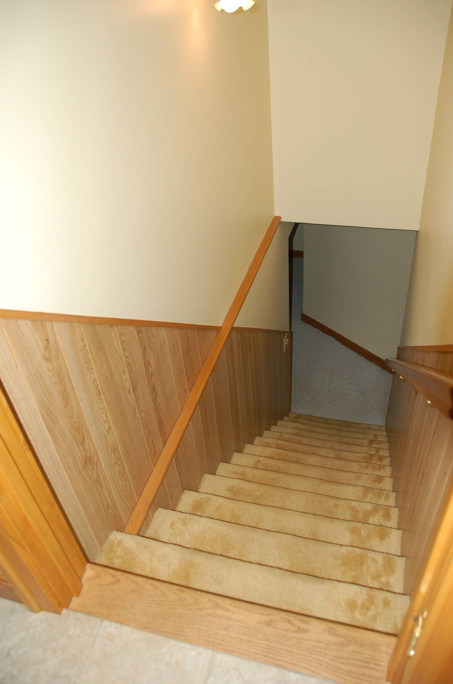 Stairs To Lower Level Remove Fake Wood Panelling And Install Tongue Groove Carpet Replace With