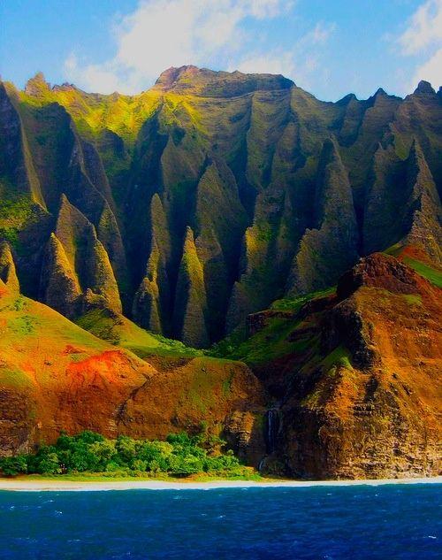 Na Pali Coast fluted ridges found along the northwest shore of Kauai, Hawaii. Kalalau Beach is at the ocean's edge.