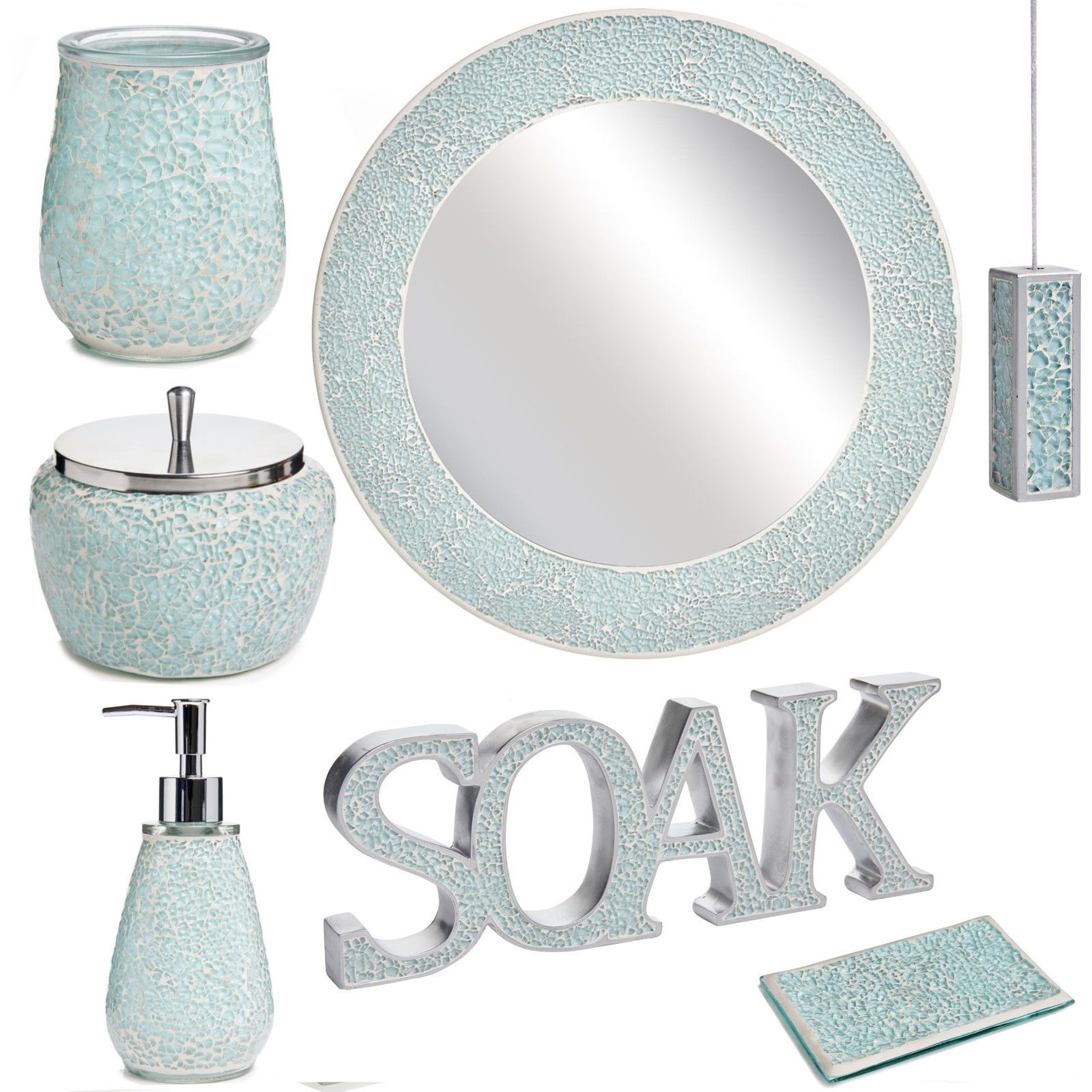 Aqua #sparkle mosaic #bathroom #accessories set, View more on the ...