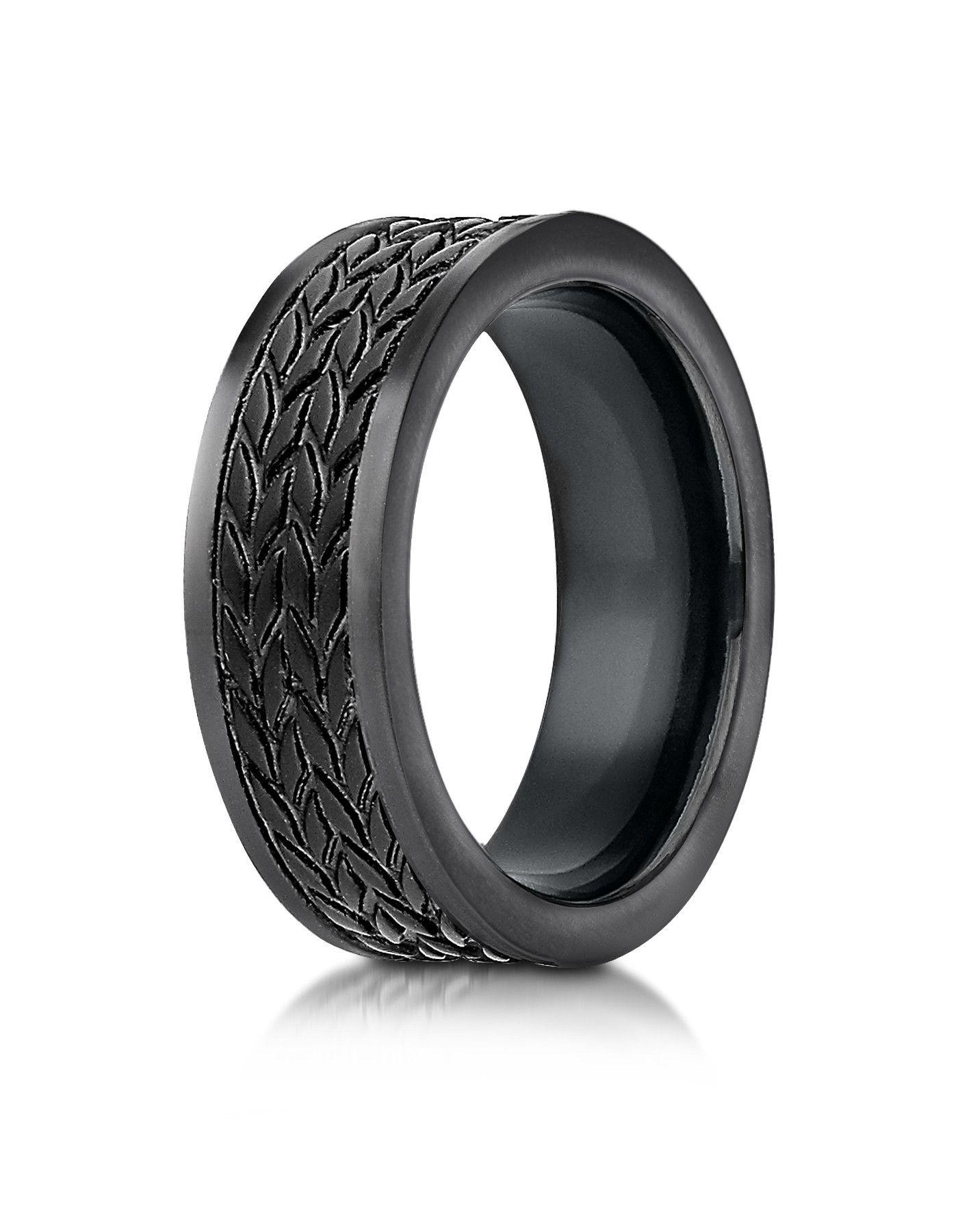 CAPRI Black Cobalt Wedding Band for Men with Tire Tread