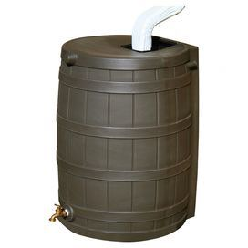 An eco-friendly solution for your landscaping endeavors, this essential rain barrel collects water from your gutters for use in garden and lawn care. Product: Rain barrelConstruction Material: PlasticColor: OakFeatures: 50 gal Capacity Resistant to rust, mold, mildew, and rotting Coated with UV resistant resin; will not fade for years Includes screen to block debris, insects, animals, and children High quality brass spigot for hose hook-up and overflow spout Dimensions: 31