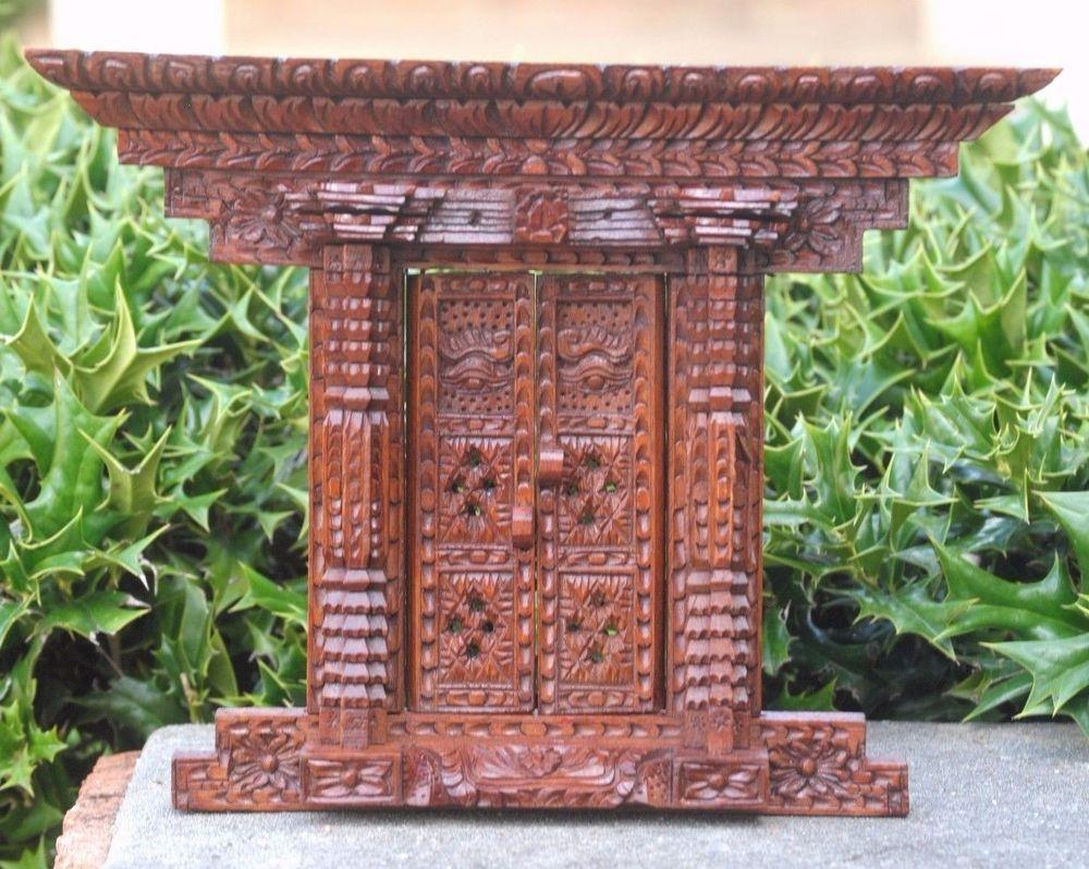 Antique Design Nepali Wood Carving Wall Hanging Door Window Frame