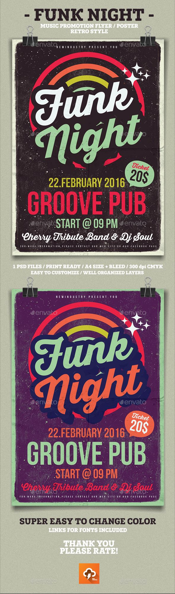 Poster design template psd - Funk Poster Flyer