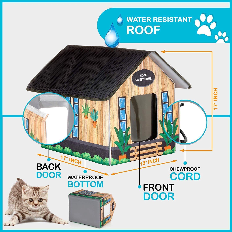 Petyella Outdoor House Shelter Heated Heated Outdoor Cat House Outdoor Cat House Heated Cat House