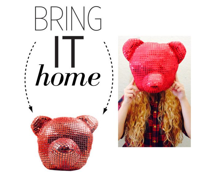 """Bring It Home: Sequins Bear Head Pillow"" by polyvore-editorial ❤ liked on Polyvore featuring interior, interiors, interior design, home, home decor, interior decorating, Freddy Dico and bringithome"